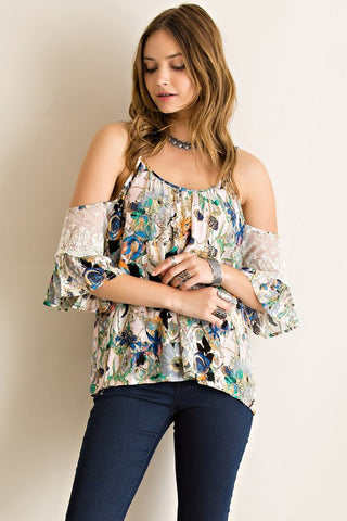 Floral Open Shoulder Top - Navy - Blue Chic Boutique  - 1