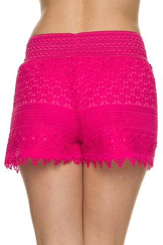 Lace Shorts - Fuchsia - Blue Chic Boutique  - 3