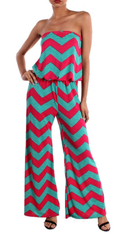 Chevron Jumpsuit - Mint and Fuchsia - Blue Chic Boutique
