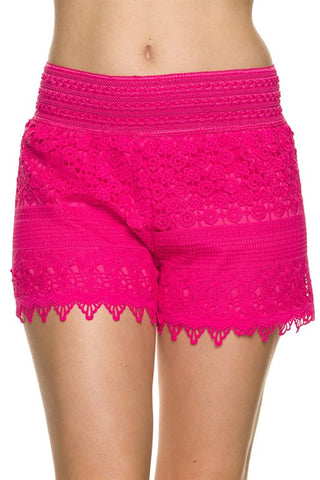 Lace Shorts - Fuchsia - Blue Chic Boutique  - 1