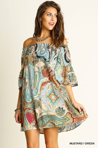 Paisley Perfection Off Shoulder Dress - Mustard and Green - Blue Chic Boutique  - 1
