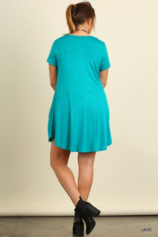 Solid Trapeze Plus Dress - Jade - Blue Chic Boutique  - 3