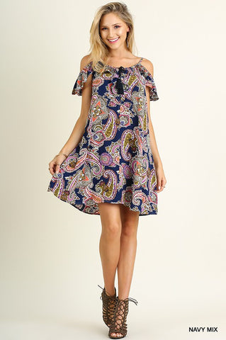 Ruffle Sleeve Paisley Dress - Navy Mix - Blue Chic Boutique  - 2