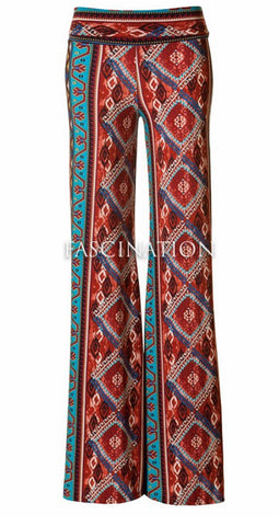 Diamond Pattern Palazzo Pants - Rust - Blue Chic Boutique  - 2