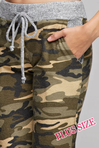 Camo Jogger with Solid Trim - Khaki and Olive - Blue Chic Boutique  - 4