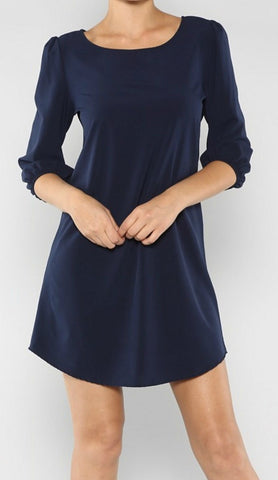 Navy Solid Tunic Dress - Blue Chic Boutique  - 1