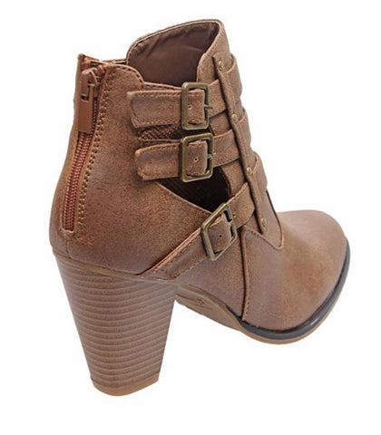 Buckle Ankle Boots - Tan - Blue Chic Boutique  - 3