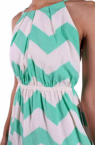 Mint and White Chevron Sleeveless Dress - Blue Chic Boutique  - 13
