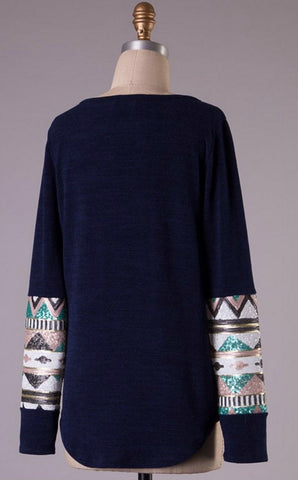 Sequin Sleeved Tunic Top with Pocket - Navy - Blue Chic Boutique  - 2