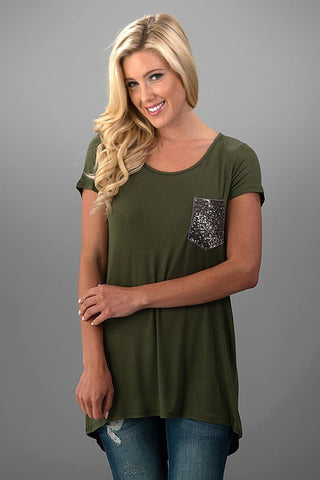 Sequined Pocket Casual Top - Olive - Blue Chic Boutique  - 1