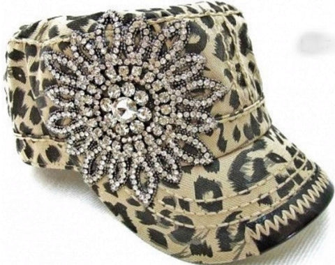 Leopard Hat with Rhinestone Flower - Blue Chic Boutique