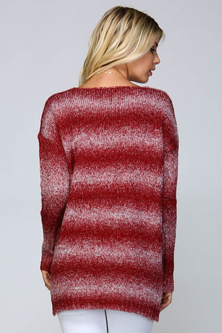 Ombre Striped Sweater - Burgundy - Blue Chic Boutique  - 3