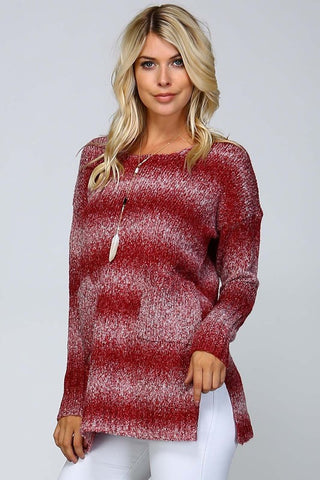 Ombre Striped Sweater - Burgundy - Blue Chic Boutique  - 1