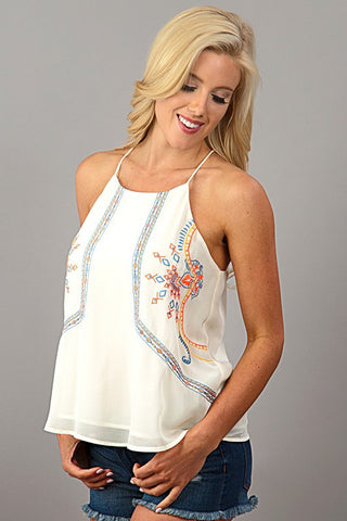 Embroidered Halter Top - White - Blue Chic Boutique  - 2