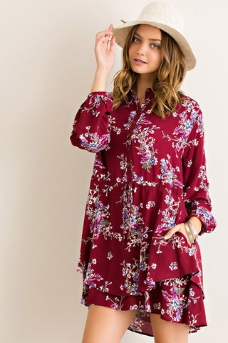 Fashionista in Floral Dress - Burgundy - Blue Chic Boutique  - 1