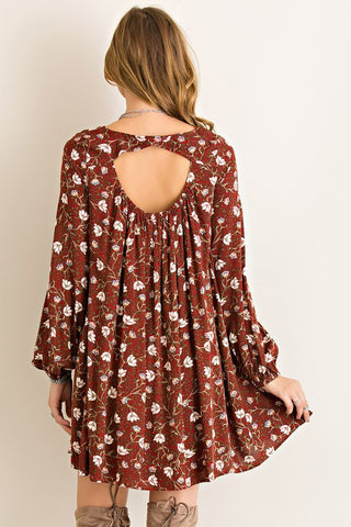Fall Boho Dress - Burgundy - Blue Chic Boutique  - 4