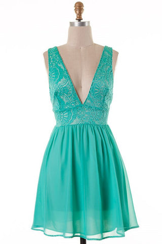 Emerald V-Neck Dress - Blue Chic Boutique  - 1