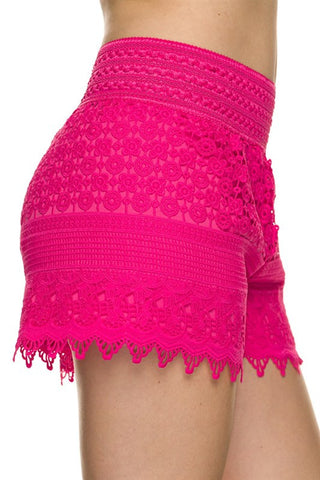 Lace Shorts - Fuchsia - Blue Chic Boutique  - 2