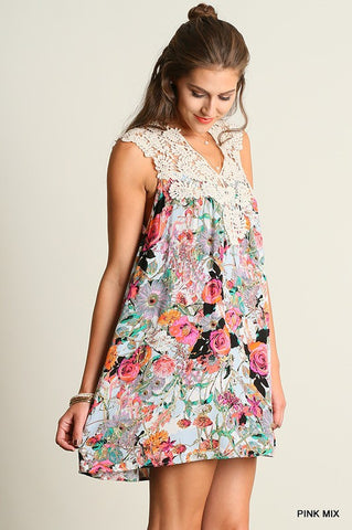 Wild Flowers Dress - Pink Mix - Blue Chic Boutique  - 2