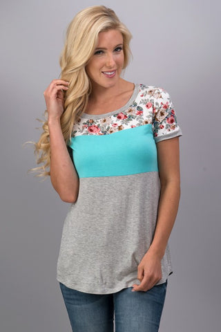 A Hint of Floral Top - Mint - Blue Chic Boutique  - 2