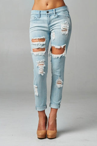 Light Wash Distressed Jeans - Blue Chic Boutique  - 1