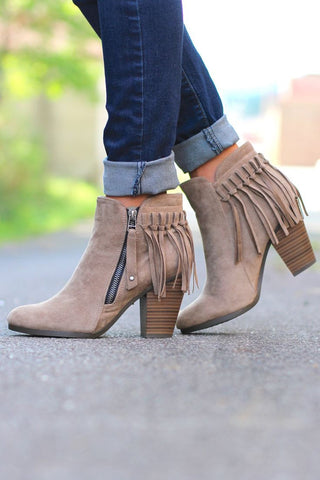 Fringe Booties - Beige - Blue Chic Boutique  - 1