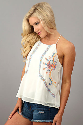 Embroidered Halter Top - White - Blue Chic Boutique  - 3