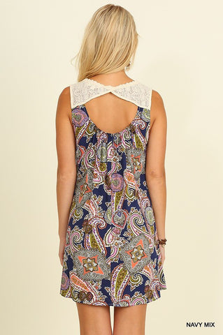 The Livin' is Easy Paisley Dress - Navy Mix - Blue Chic Boutique  - 3