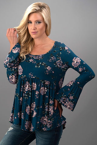 Floral Bell Sleeve Top - Teal - Blue Chic Boutique  - 2