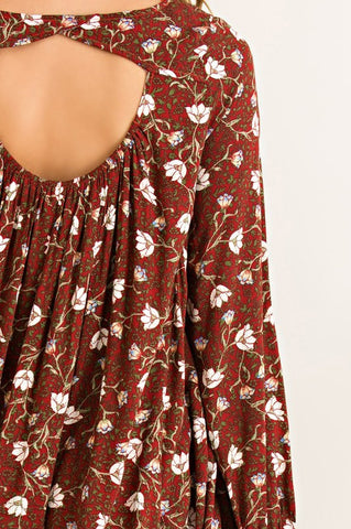 Fall Boho Dress - Burgundy - Blue Chic Boutique  - 6