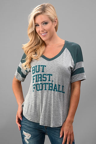 But First, Football Top - Gray and Green - Blue Chic Boutique  - 1