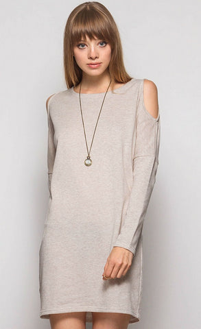 Cold Shoulder Sweatshirt Tunic - Light Taupe - Blue Chic Boutique  - 1