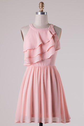 Ruffle Dress - Blush - Blue Chic Boutique  - 3