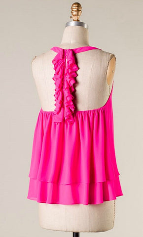 Hot Pink Tank with Ruffle Racerback - Blue Chic Boutique  - 1
