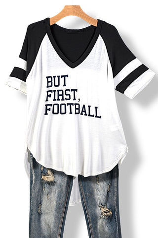 But First, Football Top - White and Black - Blue Chic Boutique  - 1