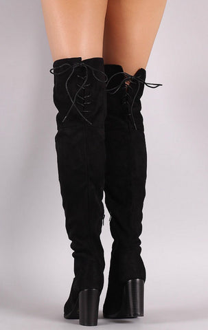Over the Knee Lace Up Boots with Heel - Black - Blue Chic Boutique  - 2
