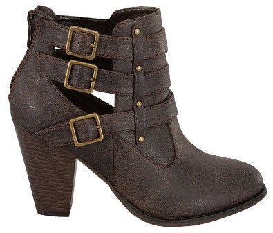 Buckle Ankle Boots - Brown - Blue Chic Boutique  - 3