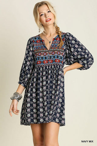 Boho Baby Doll Dress - Navy - Blue Chic Boutique  - 3