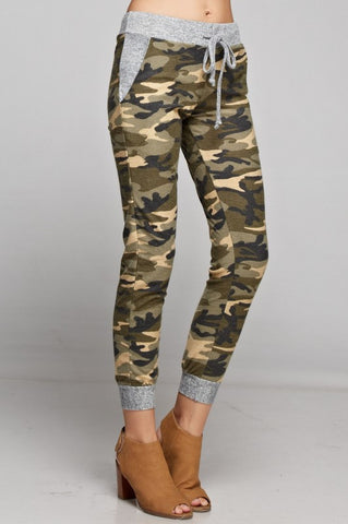 Camo Jogger with Solid Trim - Khaki and Olive - Blue Chic Boutique  - 1