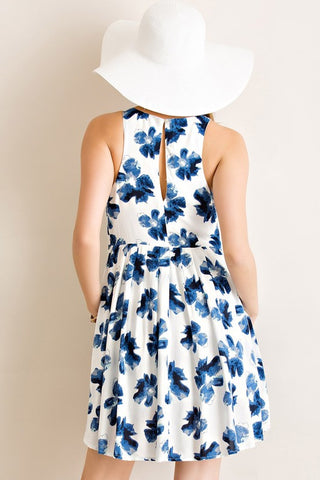 Flawless Floral Sundress Dress - Blue - Blue Chic Boutique  - 2
