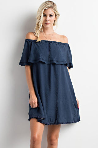 Off Shoulder Dress - Navy - Blue Chic Boutique  - 1