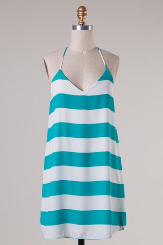 Striped Racer Back Dress - Jade - Blue Chic Boutique  - 4