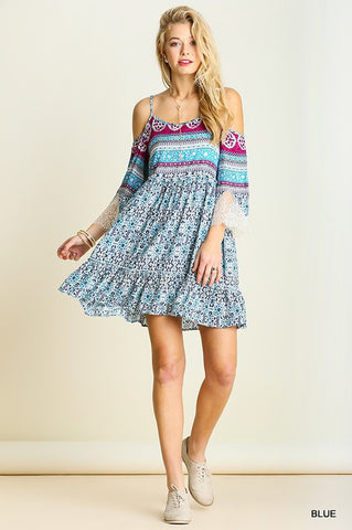 Music Fest Open Shoulder Dress - Blue - Blue Chic Boutique  - 2