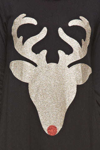 Glitter Reindeer Tunic - Black - Blue Chic Boutique  - 5