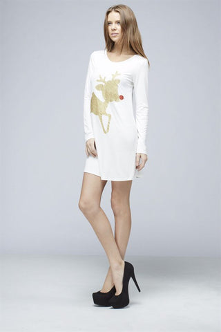 Glitter Rudolf the Reindeer Tunic Top - White - Kids sizes to 3XL - Blue Chic Boutique  - 6