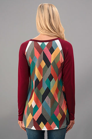 Geometric Fall Top - Olive - Blue Chic Boutique  - 5