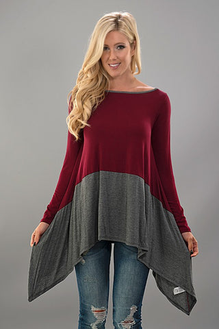 Color Block Tunic - Burgundy and Charcoal - Blue Chic Boutique  - 1