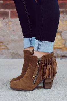 Fringe Booties - Tan - Blue Chic Boutique  - 1