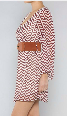Zig Zag White and Wine Dress with Brown Belt - Blue Chic Boutique  - 2