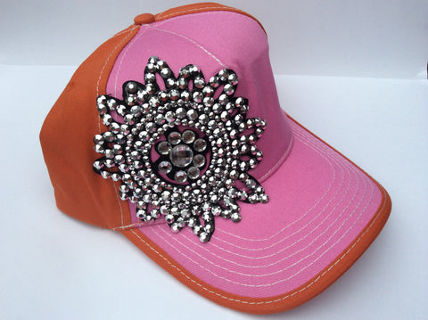 Sequin and Rhinestone Hat - Pink and Orange - Blue Chic Boutique